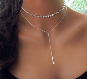 Girocollo Fashion Boho Coin Layered of 2 Set collana Y Lariat Collana con ciondolo bar in oro argento Girocollo regalo fidanzata