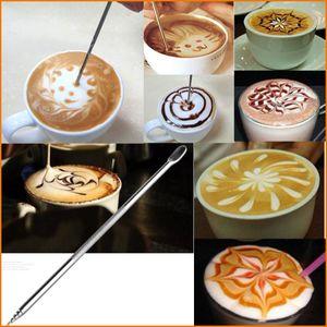Barista Ménage Café Cappuccino Latte Espresso Art Stylo En Acier, Outil En Acier Inoxydable Café Fantaisie, Bâton De Guirlande Café Guirlande