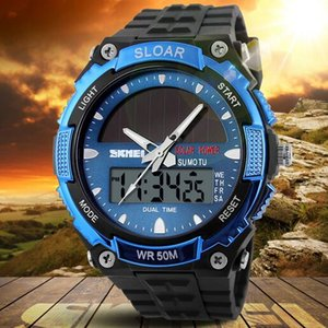 Men Solar Strong Power Long Endurance Dual Time Waterproof 50M Outdoor Sport Watches 1049