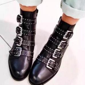 Boucle Sangle Cuir Vintage Femmes Chaussures Tactiques Cheville Bottes Marque De Mode Susanna Rivets Cloutés Bottines Bottines Moto Botas