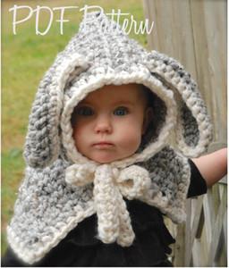 Güzel Çocuk Tavşan Uzun Kulak kış rüzgar geçirmez şapka eşarp seti ile çocuklar tığ Örme yumuşak sıcak kap El Yapımı bebek kış kasketleri
