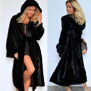 Пальто Продажи Женщины Furs Куртка Мода Зимняя Осень Теплый Поддельные Меховые Пальто Длинные Пояс Пушистые Искусственные Куртки Оптом Оптом