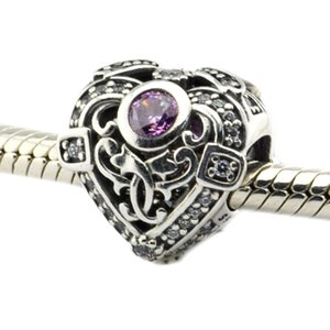 Fits for Pandora Bracelet 100% 925 Sterling Silver beads Opulent Heart, Orchid & Clear CZ diy charms 2016 newest Autumen jewelry 1PC lot