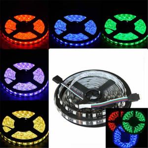 أسود PCB 5M 5050 RGB LED أضواء 300 LED 60led / m SMD للماء IP65 DC 12V قطاع الخفيفة مرنة دافئ / بارد أبيض أحمر أخضر أزرق