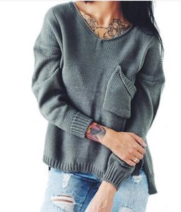 Winter Sweater Women Autumn Side Split The Fork Pullover Sexy scollo a V manica lunga Hollow Out Maglione posteriore Ponticelli