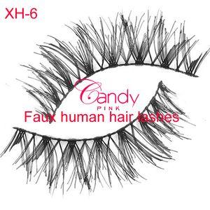 XH-6 10 par / lote Grosso natural cílios de seda falso cílios cílios falso cílios feitos à mão cílios falso cabelo humano olho chicote