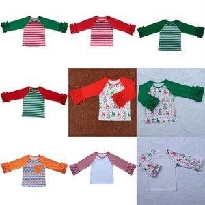 Bebê Menina Natal Plissado t camisas Patchwork Mangas Compridas Roupas de Outono Inverno Sólida Elk Xmas Stripe T-shirt Boutique Dos Desenhos Animados Raglan Tops