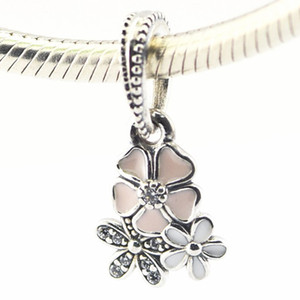 Poetic Blooms Mixed Esmaltes Limpar CZ 100% 925 Sterling Silver Beads Fit Pandora Encantos Pulseira Autêntica DIY Moda Jóias