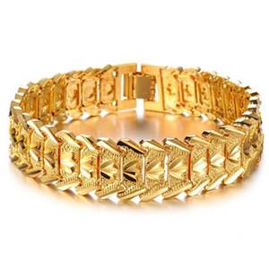 Zhf مجوهرات 2016 حار بيع فاخرة 18 كيلو الذهب الأصفر الرجال سلسلة سوار واسعة صفعة مكتنزة رابط سلسلة جذابة التبعي