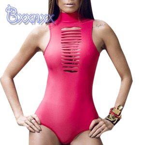 Primavera alto collo scava fuori Costume intero Donna Solid Perizoma Sexy High Cut Swimwear Zipper Beach costume da bagno rosso Sport Swim Wear