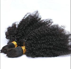 virgen humana brasileña remy rizado cabello rizado a granel extensiones de cabello sin procesar rizado natural color negro extensiones humanas