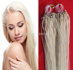 # 60 Platin Sarışın perulu düz bakire saç 100 s / pc 6a bakire saç mikro döngü saç uzantıları ucuz İnsan saç