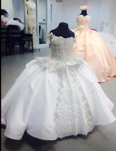 Vestidos Da Menina de flor 2019 Princesa vestido de Baile Pérolas Rendas Até Comprimento Total Daughter Vestido Da Menina Cauda Primeira Comunhão Criança personalizado