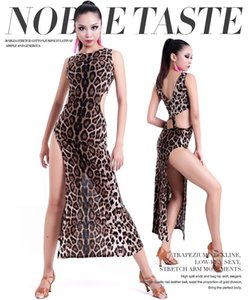 2018 Free ShippingLatin Dance Costumes For Women Black Leopard Cha Cha Tango Clothing For Dance Wear Womens Practice Performance Dresses