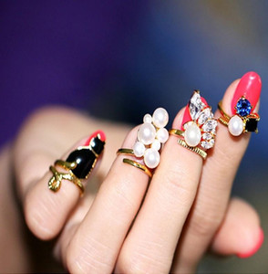Pretty Ring For Women Crystal Black Cat Simulated-Pearl Zircon Nail Rings Set For Women Anillos Resizable Knuckle Ring