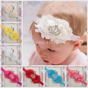 무료 배송 10 개 / 많은 솔리드 시폰 꽃 탄성, 꽃 머리띠 아이들을위한, 여자 크라운 탄성 머리띠, 아기 머리띠