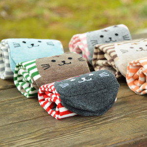 Wholesale-3D Animals Style Striped Women Lady Sock Cute Cat Footprints Casual Cotton Socks