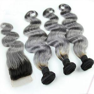 1B / Gris Ombre brasileño paquetes de cabello humano con cierre de encaje gris plata Dos tonos de color armadura del pelo con cuerpo de cierre ondulado 4 unids / lote