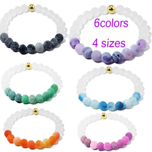 4 Sizes S M L XL natural stone 8MM Weathering agate beaded bracelet for women frosted crystal beads bracelets Jewelry For Men
