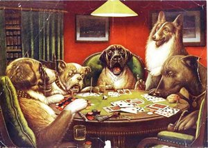 Dogs Playing Cards, Genuine Handpainted Animal & Portrait Art oil Painting On Thick Canvas for home decor Museum Quality