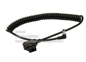 D-Tap macho a 5.5x2.5mm DC en ángulo resorte de estiramiento Cable para DSLR Rig Power V-Mount Anton batería, cable de BMCC / envío gratis / 1PCS