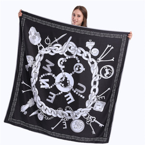 New Twill Silk Scarf Women Skull Key Printing Square Scarves Fashion Wrap Female Foulard Large Hijab Shawl Neckerchief 130*130CM