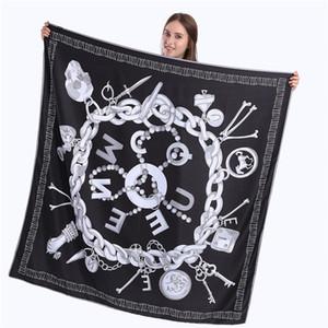Yeni kabartılmış İpek Eşarp Kadınlar Kafatası Anahtar Baskı Kare Eşarplar Moda Wrap Kadın Fular Büyük Tesettür Şal atkısı 130 * 130cm
