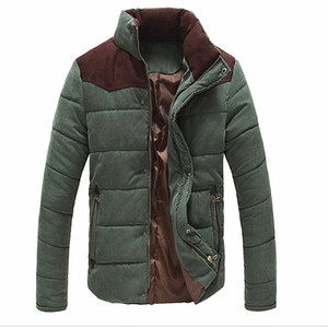 가을 - 가을 겨울 새로운 패션 망 캐주얼 따뜻한 코트 자 켓 열 Wadded Splice 자 켓 두꺼운 코 튼 패딩 코트 플러스 크기