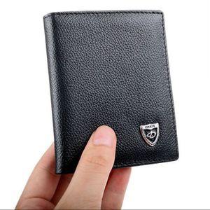 남성 가죽 Bifold ID 신용 카드 홀더 미니 지갑 얇은 지갑 지갑 패션 지갑