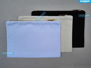 10 unids / lote 12 oz Natural Cotton Canvas Cosmetic Bag Con Metallic Gold Zipper Blank Pure Cotton Maquillaje Bolsa Con forro resistente al calor coincidente