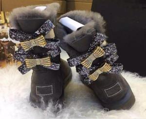 Freies shippingAustralia schafe leder pelz wasserdicht bogen warm 2017 winter warme stiefel diamant doppel bogen in der rohr stiefel