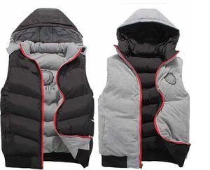 2018 Haute Qualité Hommes Printemps Automne nouvelle usure recto-verso de coton gilet À la mode casual vêtements de dessus manteaux gilet gilet plus épais veste