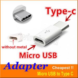 venta al por mayor USB 2.0 Type-C Conector Macho a Micro USB Adaptador de Datos Convertidor de Conector Tipo C Adaptador Para Nota 7 MacBook ChromeBook