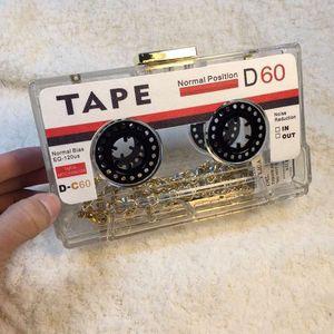 Brand Handbags Tape Hollow Plastic Clutch Bags Tape Recorder Clear CD Vintage Bag Bag Purse Evening Acrylic 18*5*10cm Party Leiqj