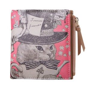 Wholesale- Cute Ladies Small Short Cat Wallets for Women Clutch Zipper Women Dollar Mini Wallet Purse Carteira Portfolio Money Bag 45