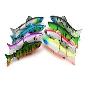 Jointed bağlantı cezbeder Derin deniz Minnow Rap spinner Plastik toptancı Hengjia 400PCS Bölüm Üç balık 8Colors 12.5cm / 17.7 g JM009 yem