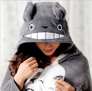 Wholesale-2016 New Cosplay Totoro Lovely Plush Soft Cloak Totoro Cape Cat Cartoon Cloak Coral Fleece Air Blankets Birthday Valentine Gifts