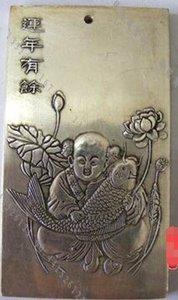 Bianco rame dorato argento Qianlong a cinque vie God of Wealth Fortune casa di città ben sviluppata