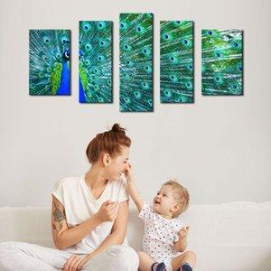 5 Picture Combination Wall Art Blue Beautiful Peacock Dipingi l'immagine Stampa su tela Immagini animali per la decorazione domestica