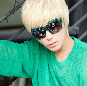 WoodFestival Hommes Cosplay Perruque Mens Court Beau Straight Party Hair Perruque Complète Platinum Blonde Perruque Droite