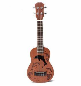 "21 ""Mini Sapele Dolphin Muster Ukulele Palisander Griffbrett 4 Saiten Guitarra Gitarre Für Musikinstrumente Anfänger"