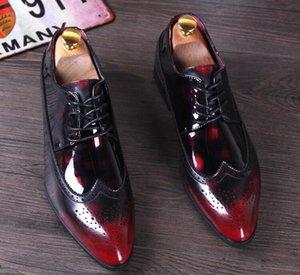 Lüks tasarımcı Erkekler moda Karışık renk Bullock Dekoratif desen Ayakkabı adam Groom Groom 574 için Damat Düğün elbise Homecoming ...