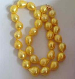 Wholesale classic 12-13mm south sea natural baroque gold pearl necklace 18inch 14k gold clasp