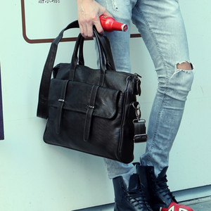 Al por mayor- Paquete de archivo del diseñador del bolso de los hombres 14 pulgadas portátil de la PU bolsas de mensajero de cuero bolsos de los hombres maletines cartera cartera 38.5 * 30 * 5.5 cm de negocios