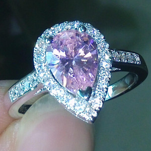 tamaño 5-10 pera corte Compromiso de lujo Joyería rosa zafiro 925 plata de ley llena Boda Diamonique simulado Anillo de diamantes conjunto