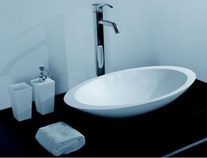 Lavabo ovale della pietra della superficie solida del bagno sopra il contatore Lavandino del recipiente bianco o lucido opaco RS3857