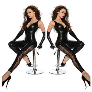 All'ingrosso-Faux Leather Crotch Zipper Catsuit Nero Sexy Spandex Latex Catsuit Donna Clubwear Hot Lingerie Fetish Lace Leg Costume