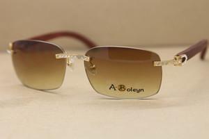Hot aro de diamante grande T8200497 Madeira óculos de sol óculos homens famosa sol Óculos Marca C Decoração quadro ouro óculos Frame Size: 58-18-140mm