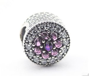 Jewelry Silver Droplets With Beads Loose Purple CZ Shimmering 925 Sterling Fashon Authentic Pandora Bracelet Charms Thread Jarnu