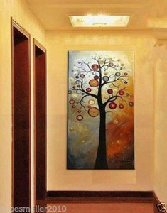 Framed Pure Handicrafts Modern Abstract Art Oil Painting Tree,On High Quality Canvas For Home Wall Decor size can be customized